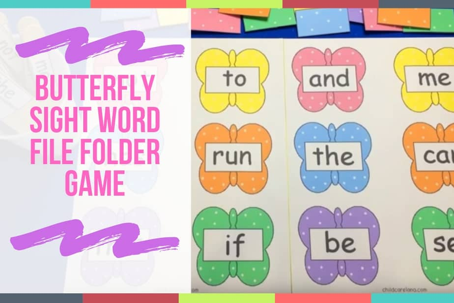 Butterfly Sight Word File Folder Game
