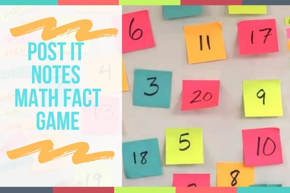 Post It Notes Math Fact Game