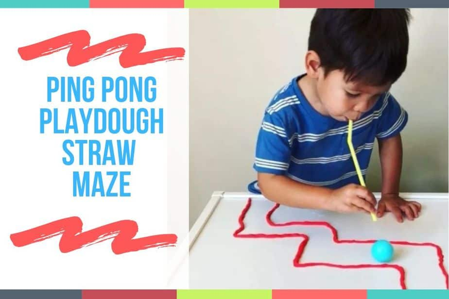 Ping Pong Playdough Straw Maze