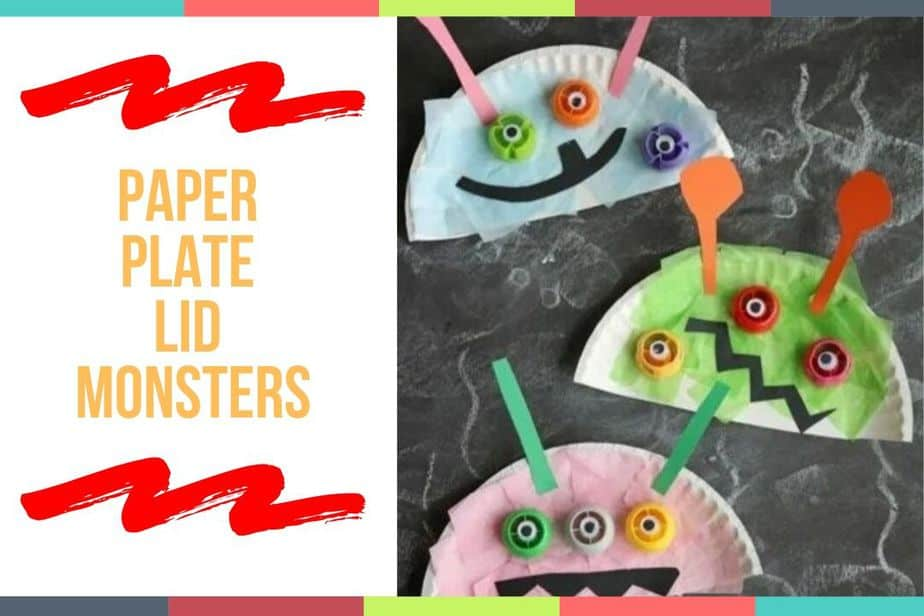 Paper Plate Lid Monsters
