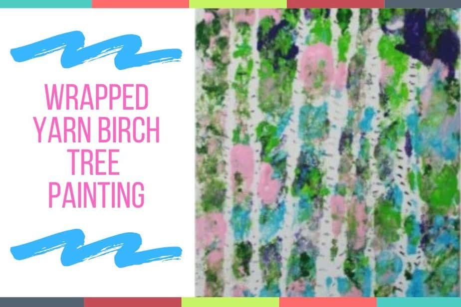 Wrapped Yarn Birch Tree Painting