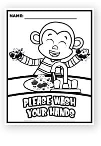 Benjamin Monkey Hand Washing Coloring Page