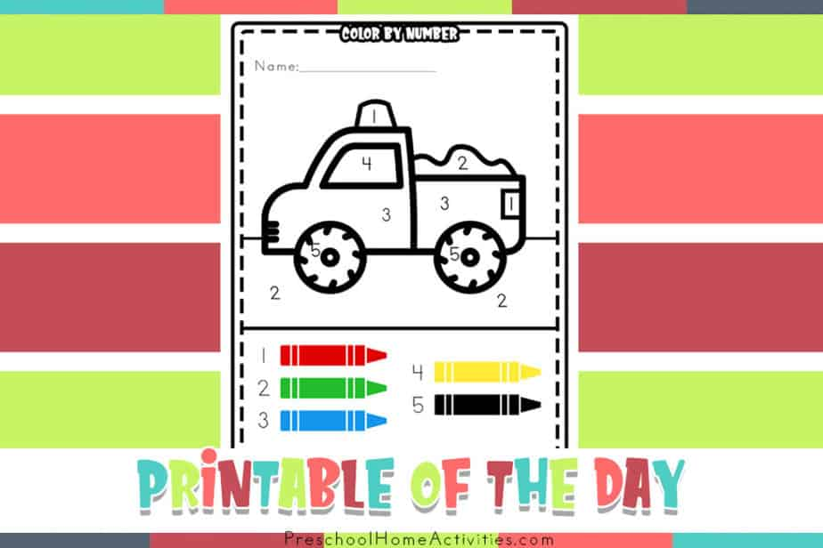 Easy Color By Number 1-5 Truck
