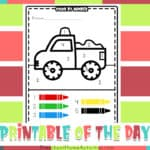 Easy Color By Number 1-5 Truck Printable