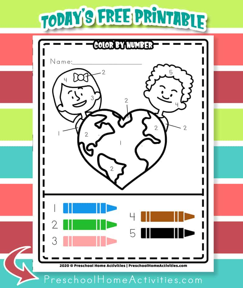 Earth Day Coloring Easy Color By Number