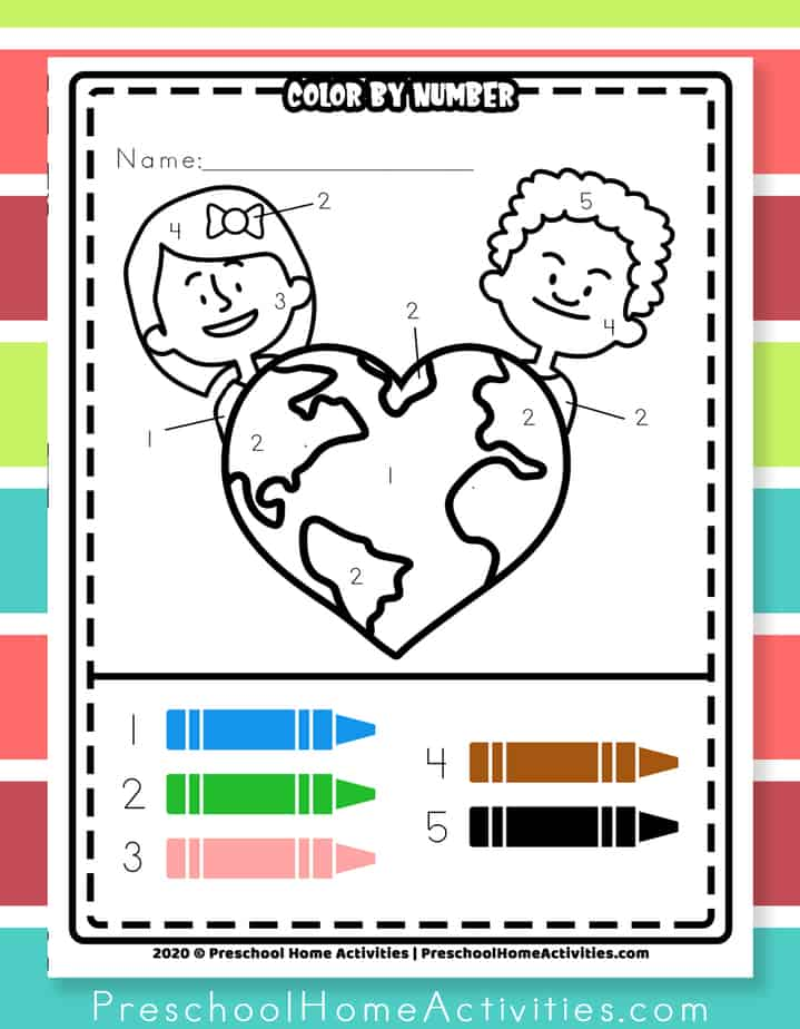 Earth Day Coloring Easy Color By Number Printable