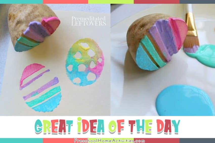 Easter Egg Potato Stamping for Preschoolers