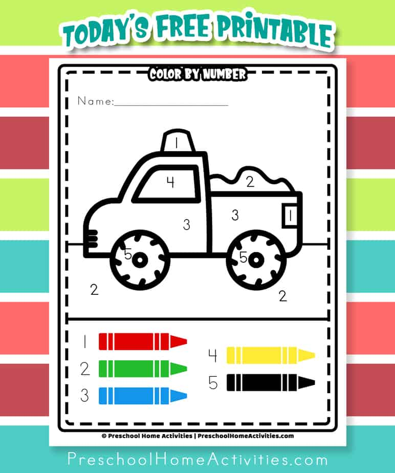 Easy Color By Number Truck