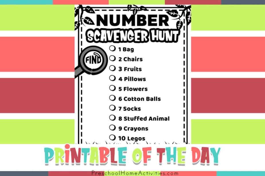 Number Scavenger Hunt for Preschoolers Printable