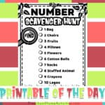 Number Scavenger Hunt for Preschoolers