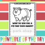 Pig Joke Color and Trace Printable