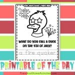 4th of July Kids Joke Color & Trace Printable