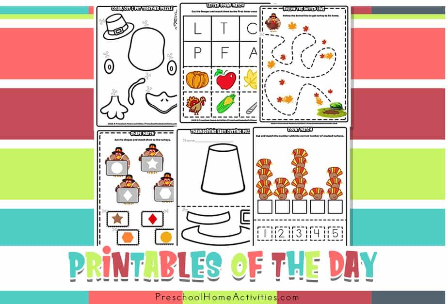 Preschool Thanksgiving Cutting Worksheets feature