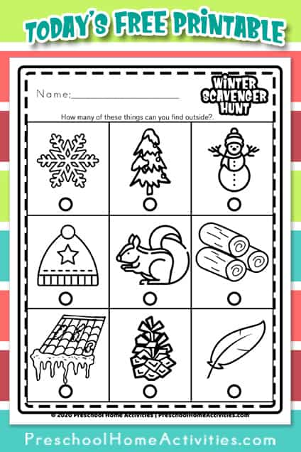 Outdoor Winter Scavenger Hunt for Kids Pinterest