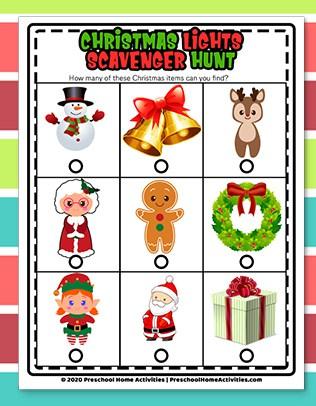 Preschool Christmas Light Scavenger Hunt download