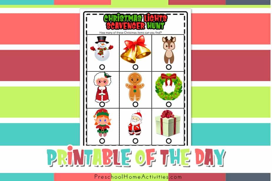 Preschool Christmas Light Scavenger Hunt feature image