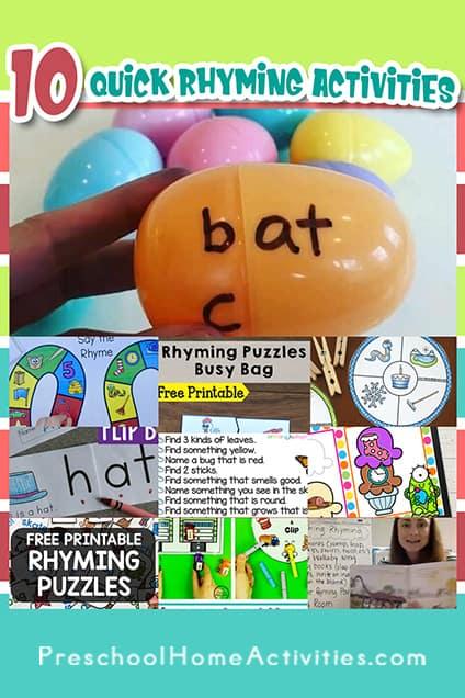 Quick Rhyming Activities Pin