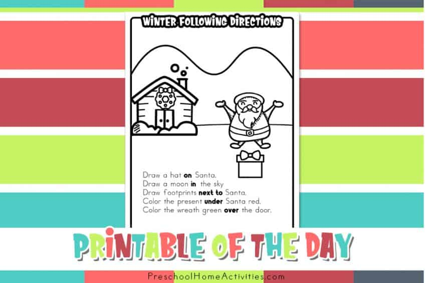 winter Following Directions Worksheet
