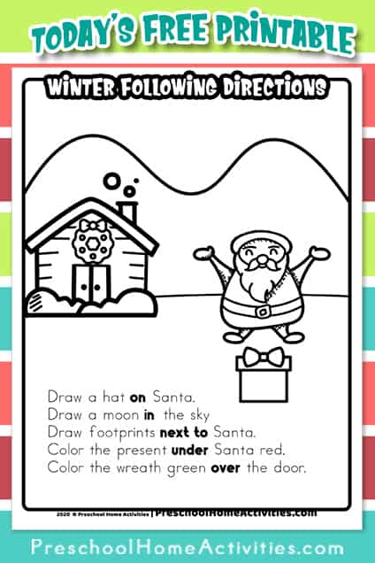 winter Following Directions Worksheet Pin
